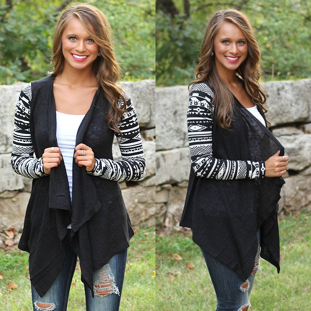BLACK AND WHITE WATERFALL CARDIGAN