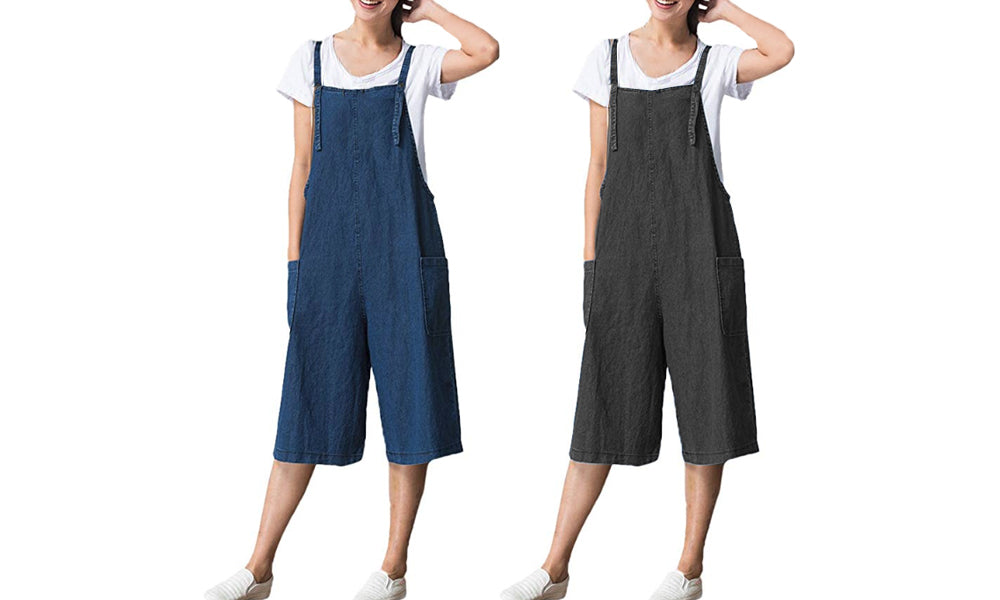 CROPPED SOFT DENIM JUMPSUIT