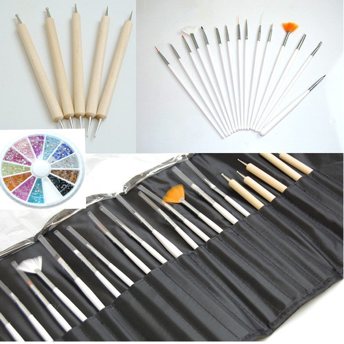 20 PIECE BAMBOO NAIL BRUSH SET AND RHINESTONES KIT