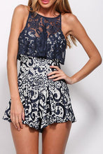 Load image into Gallery viewer, Red Deep V Neck Floral / Sunflower Romper / Lace Playsuit