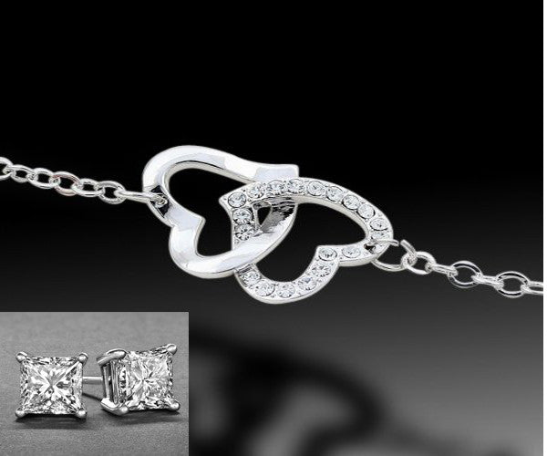 WHITE GOLD HEART BRACELET AND EARRING SET