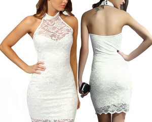 ABIGAIL LACE HALTERNECK DRESS