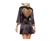 Load image into Gallery viewer, LEOPARD PRINT LOVE HEART DRESSING GOWN + G STRING