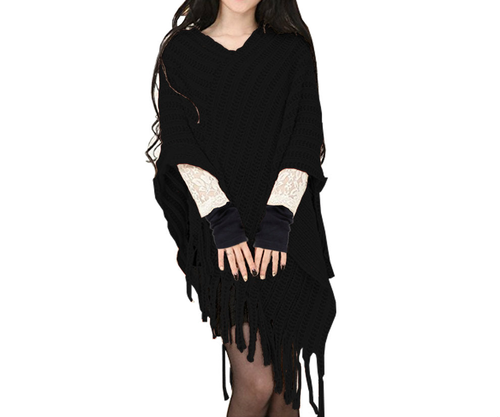 CABLE KNITTED PONCHO AND GLOVES SET