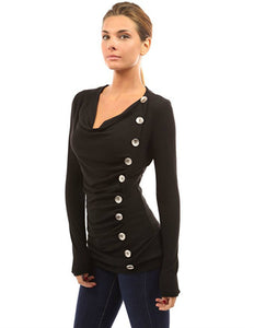 RUCHED BUTTON JUMPER