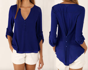 Button Back Chiffon Blouse in Choice Colour