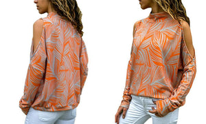 Printed Long-Sleeved Top with Cut-Out Shoulders - 5 Colours