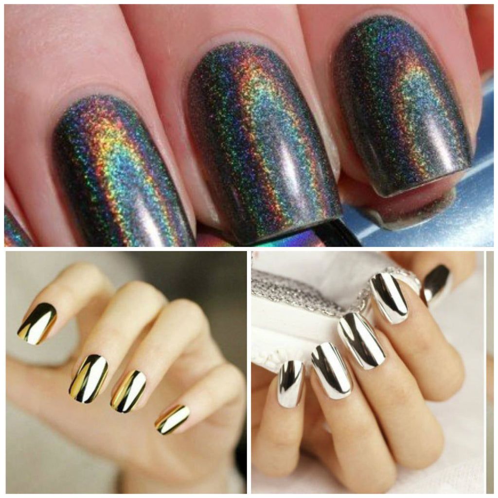 HOLOGRAPHIC AND SILVER OR GOLD MIRROR NAILS