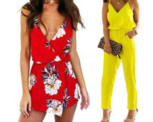 Load image into Gallery viewer, LONG AND SHORT V-NECK JUMPSUIT