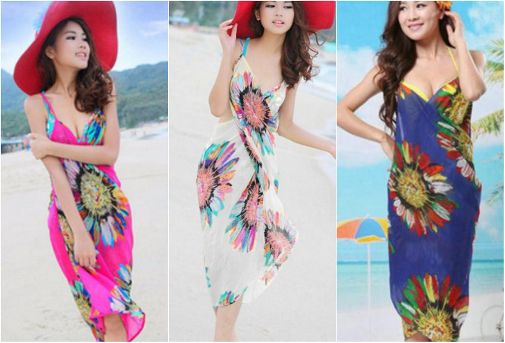 WRAP OVER FLORAL BEACH DRESS