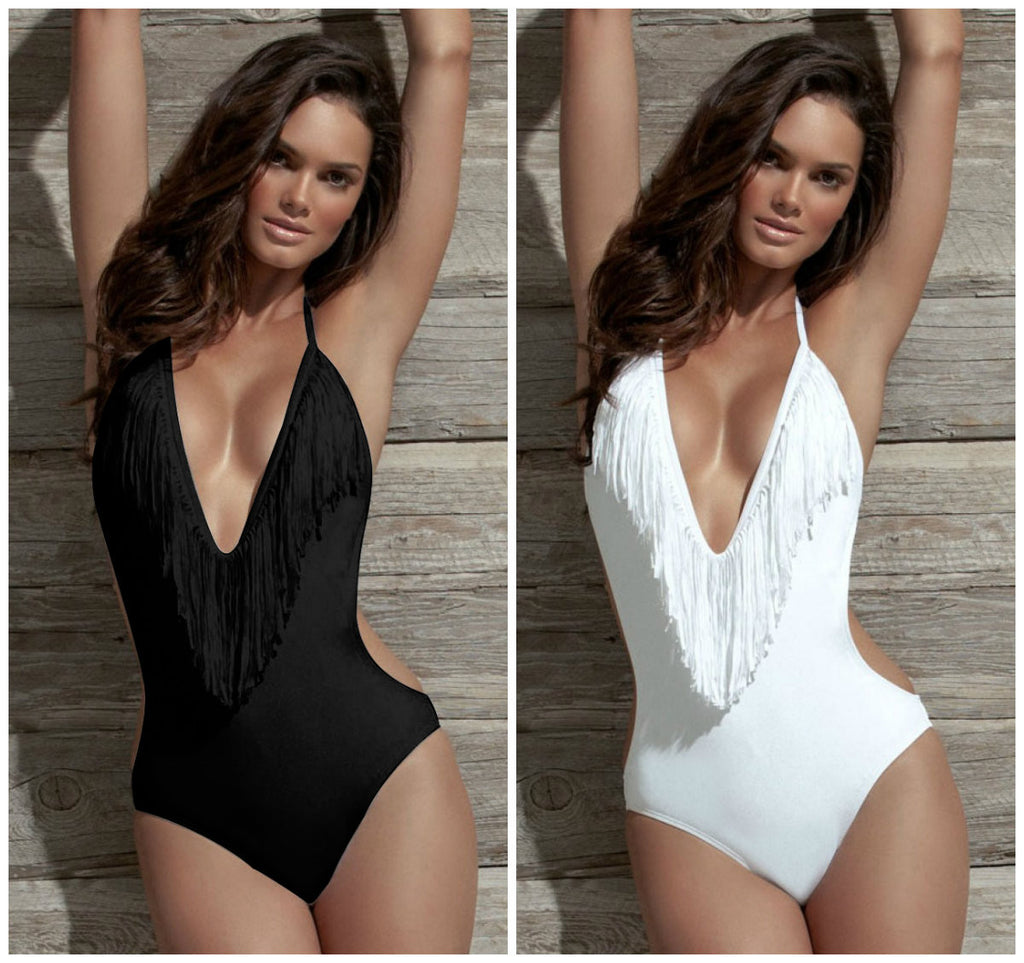 PLUNGE HALTER SWIMSUIT