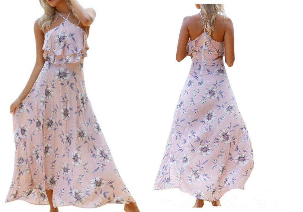 HALTER RUFFLE MAXI DRESS