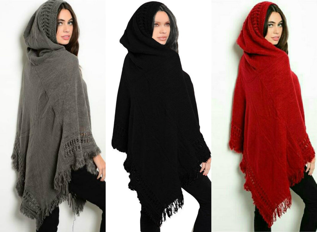 FRINGE HOODED PONCHO