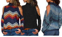 Load image into Gallery viewer, Printed Long-Sleeved Top with Cut-Out Shoulders - 5 Colours