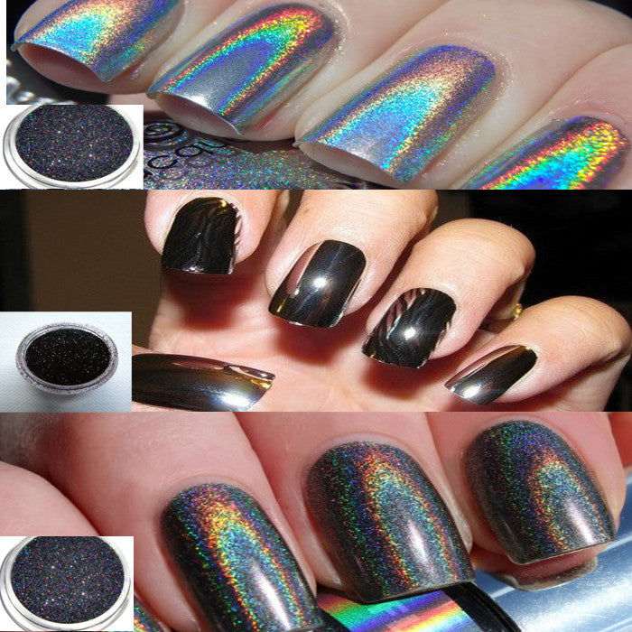 HOLOGRAPHIC AND BLACK MIRROR NAILS