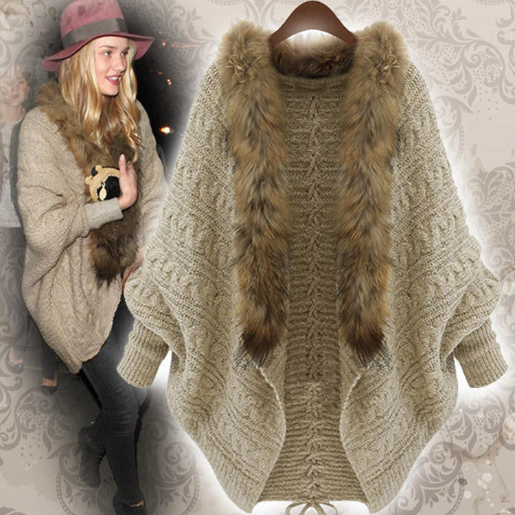 FAUX FUR LINED BATWING CARDIGAN