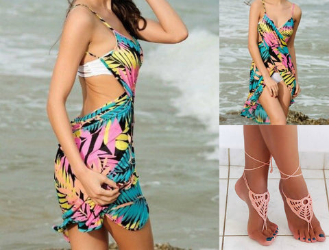 BEACH COVER UP DRESS WITH CROCHET SANDALS