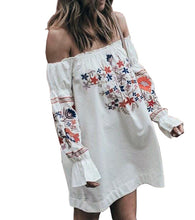 Load image into Gallery viewer, OFF-SHOULDER FRILL PRINTED TUNIC-DRESS