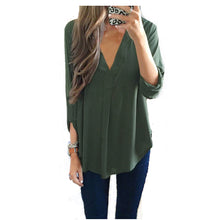 Load image into Gallery viewer, LONG SLEEVE V NECK BLOUSE- 6 colours