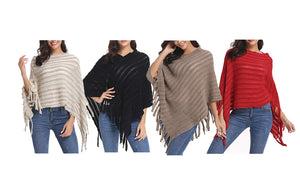 KNITTED PONCHO - 4 COLOURS