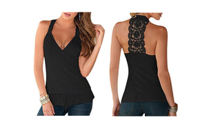 LACE BACK HALTERNECK TOP