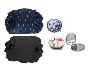 COSMETIC BAG AND COMPACT MIRROR