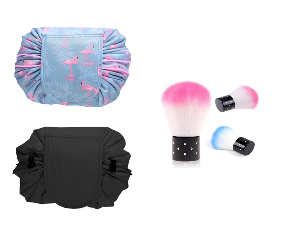 COSMETIC BAG AND POWDER BRUSH