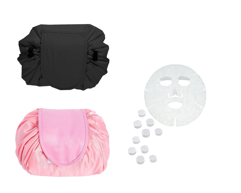 TRAVEL COSMETIC BAG AND 10 HYDRATING FACE MASKS