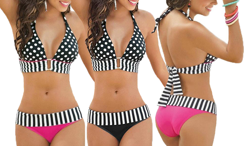 SPOT AND STRIP HALTER NECK BIKINI
