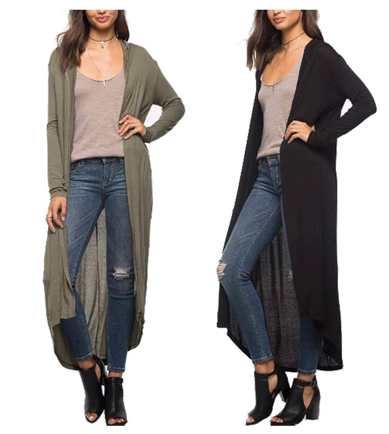 LONG HOODIED CARDIGAN