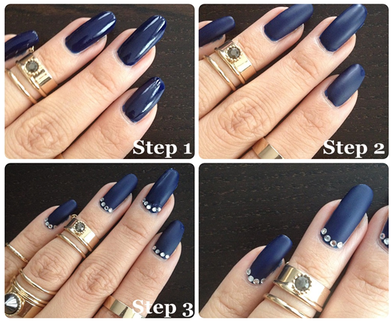 Bonicaro - MATTE NAVY GEL NAILS WITH DIAMANTE