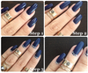MATTE NAVY GEL NAILS WITH DIAMANTE