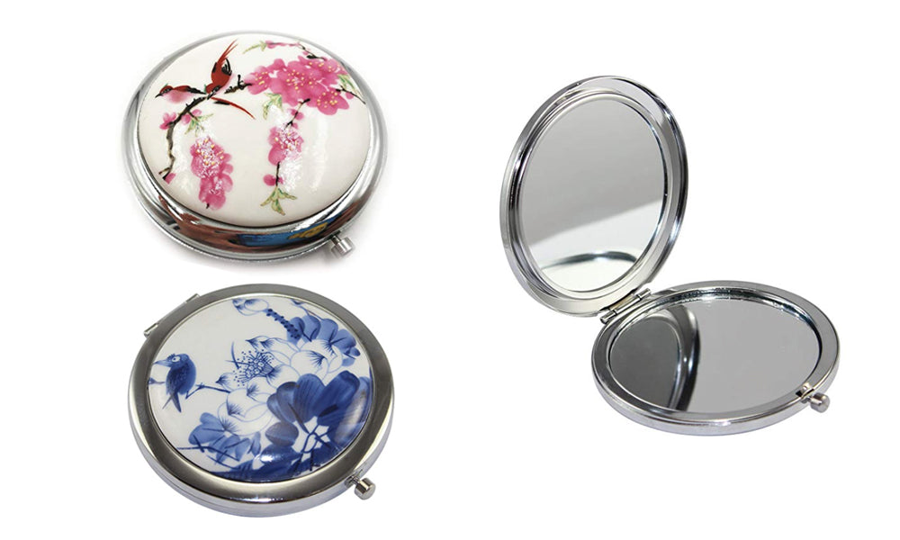 PORCELAIN COMPACT TRAVEL MIRROR