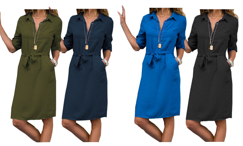 TIE WAIST SHIRT DRESS - FOUR COLOURS