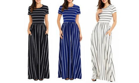 STRIPED EMPIRE MAXI DRESS