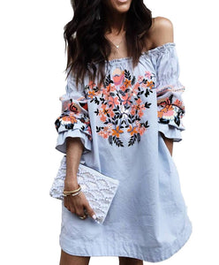 OFF-SHOULDER FRILL PRINTED TUNIC-DRESS