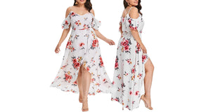 COLD SHOULDER FLORAL DRESS UP TO SIZE 22