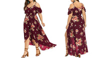 Load image into Gallery viewer, COLD SHOULDER FLORAL DRESS UP TO SIZE 22