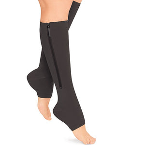 Zip-Up Open-Toe Compression Socks (2-Pairs)