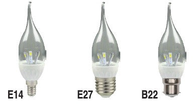 LED Candle - 3W Flame Dimmable - E14/E27/B22