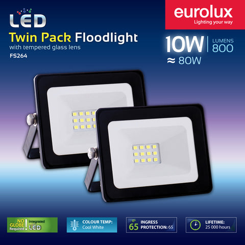 LED Flood Light Twin Pack - 10W or 20W