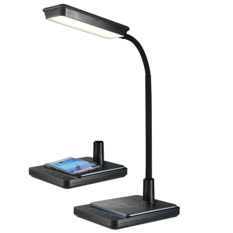 LED Desk Lamp - 8W, Colour Adjustable / Goose Neck / Dimmable / Wireless Charger