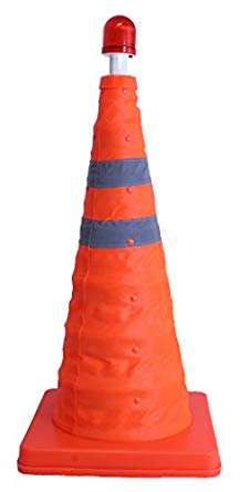 Safety Cone with Red LED Light