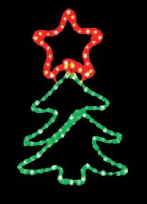 LED Christmas Lights - Christmas Tree Red Star Motif