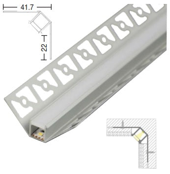 LED Extrusion / Profile - Plaster-In Inside Corner
