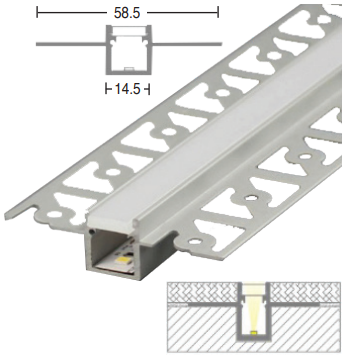 LED Extrusion / Profile - Plaster-In Recessed Narrow