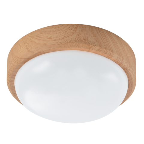 Bathroom LED Ceiling Light - Light / Dark Wood (IP54)
