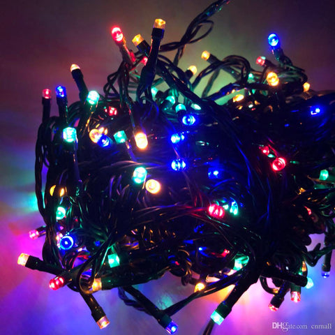 LED Christmas Lights - Multi-Colour 5M Rubber Cable Fairy Light