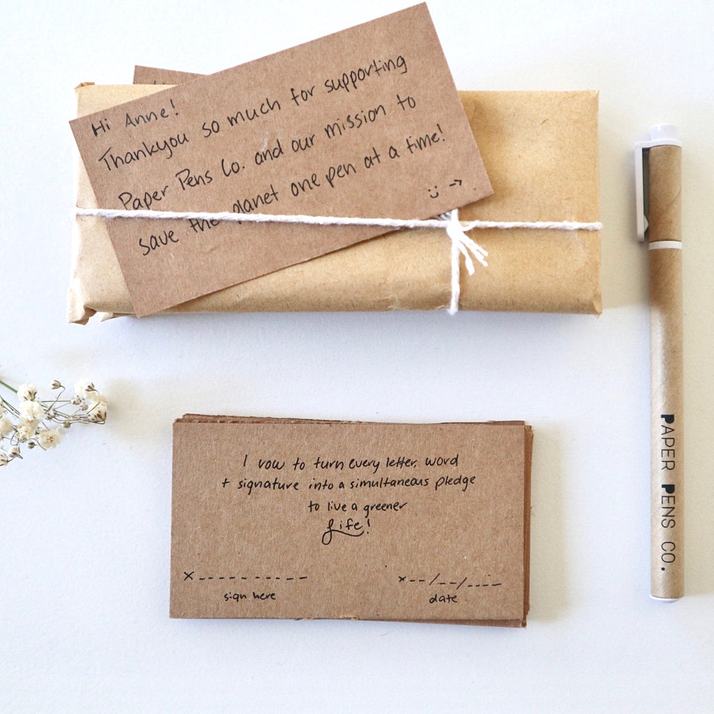Original Paper Pens and their packaging with handwritten note