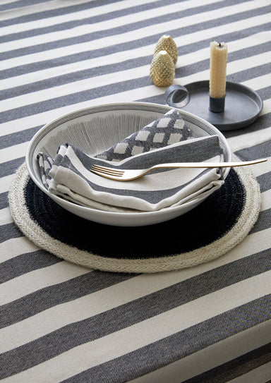 Fastnet Stripe Table Cloth Black